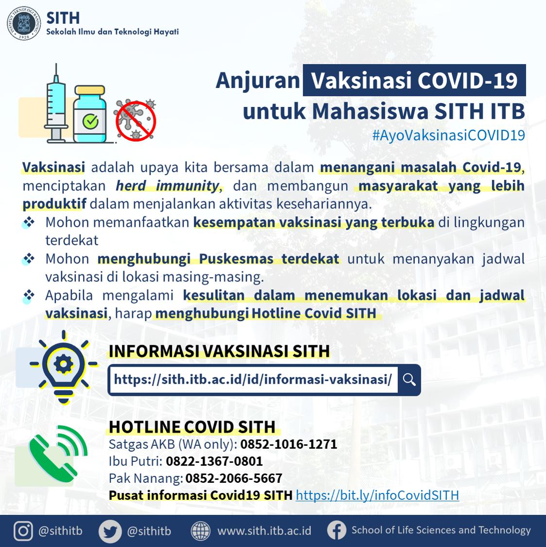 Anjuran Vaksinasi COVID-19 untuk Mahasiswa SITH ITB